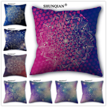 Linen Cotton Virtual flower pattern Pillow Cover Custom Print Home Decorative Pillows Cases 45x45cm one side WZ419-2