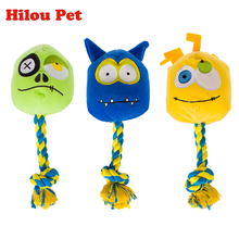 Dog Toys Pets Puppy Interactive Plush and Cotton Rope Chew Squeaker Sound Toy Monster Designs(China)