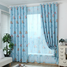 Cartoon Bird Pattern Finished Blackout Curtains For Children Living Room The Bedroom Design Window Curtain Panel Drapes