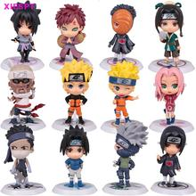 "XIESPT Anime Naruto Action Figure toys 3"" Q Version Naruto PVC Figures Model Collection 12pcs Full Set Free Shipping"