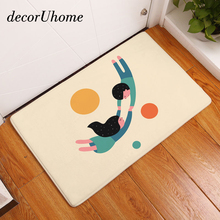 decorUhome Nordic Flannel Waterproof Floor Mat Cartoon Lovers Monkey Carpet Bedroom Rug Decorative Stair Mats Home Decor Craft(China)