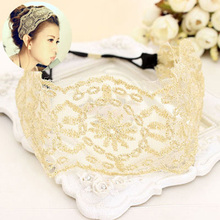 New Fashion Classic Vintage Lace Headband Flower Bandanas Elastic Head Band Hair Accessories