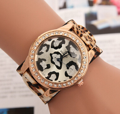 Luxury Fashion Leopard Crystal Bling Quartz Watch Wristwatches for Women Ladies Girls Shockproof 1pc/lot<br><br>Aliexpress