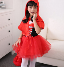 Buy 100-160cm Little Red Riding Hood cosplay carnival kid child suit party costume halloween role-playing dress+cloak girl uniform for $16.14 in AliExpress store