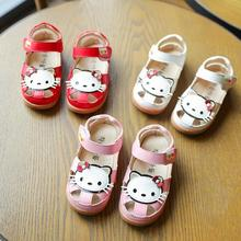 Cartoon Hello Kitty Sandals 2017 Summer Baby Girls Shoes Soft Flat Rubber Sole Girls Sandals Size 26-30