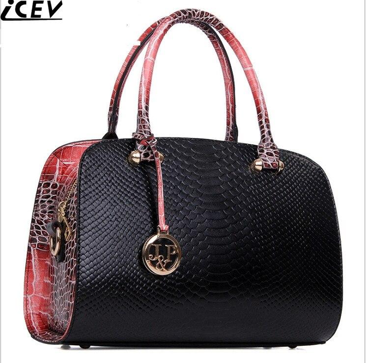 ICEV 2017 New Luxury Handbag Designer High Quality Womens Leather Handbag Serpentine Boston Bags Messenger Carteras Mujer Marca<br>