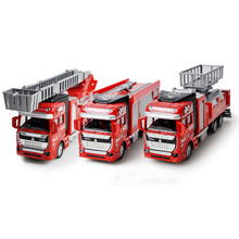1:48 Scale Alloy Construction Vehicles Fire Truck Aerial Ladder Pull Back Model Toys Cars For Children Kids Fashion Diecasts(China)
