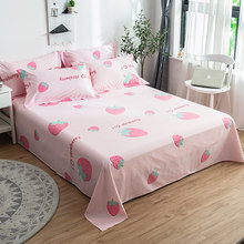 Pink Sweet Strawberry Printed Flat Sheet 100% Cotton Bed Sheet for Children/Adults Bedding Mattress Cover Bedding Set Bedspreads(China)