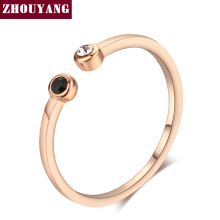 Simple Lovely Style Mini Crystal Rose Gold Color Ring Jewelry For Girl Women Party Full Sizes Wholesale ZYR165(China)