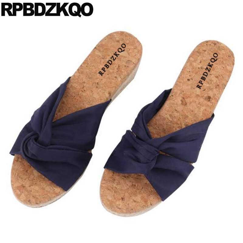 4674dbb349a79 Blue Shoes Summer Wedge Casual 2018 Sandals Slides Slip On Korean Pumps  High Heels Cork Women