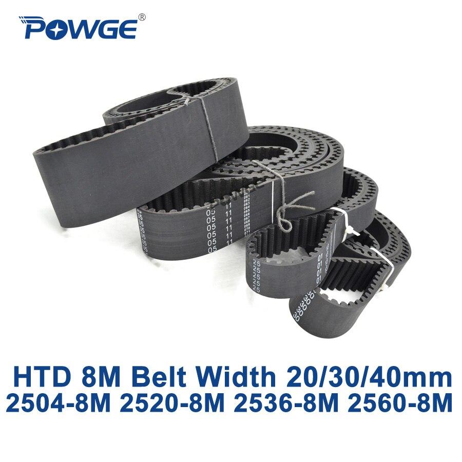 POWGE HTD 8M synchronous Timing belt C=2504/2520/2536/2560 width 20/30/40mm Teeth 313 315 317 320 HTD8M 2504-8M 2520-8M 2560-8M<br>