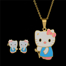 High quality Cute Hello Kitty Necklace Earrings Set Stainless Steel Jewelry Set  For Girls Birthday Gift