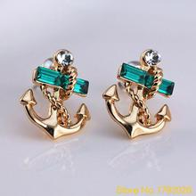 1 Pair Women's Jewelry Lake Blue Crystal Rhinestone  Gold Plated Anchor Design Earring Studs  4TN2