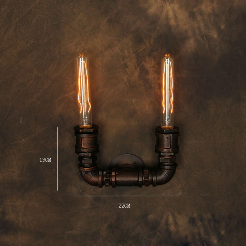 Vintage Wall Lamp American Style Industrial Edison Lamps E27*2pcs Pipe Style Art Deco RH Loft Lighting For Home Kitchen Bar<br><br>Aliexpress