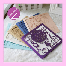 Customized Latest design purple color laser cut wedding invitation card paper craft QJ-111 free shipping