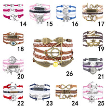 2015 Fine Jewelry Multilayer Leather Bracelet  Fashion Mask Jesus Anchors Infinity  Heart Owl Wings Charm Bracelets Pulseira