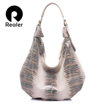 REALER New design handbag genuine Leather bag female Fashion animal pattern Hobo bags High Quality Women Tote Bag(China)