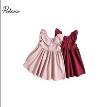 2017 Autumn Girls Pleated Cotton Dress Round Collar Children Colthes For Kids Baby, Pink/Wine Red(China)