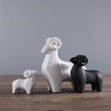 3pcs/set Black and White Ceramic Sheep Figurine Animal Statues Ornaments European Modern Craft Home Decor Goat Office Decoration
