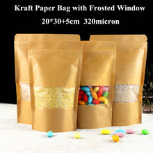 Zip lock Kraft Paper Window Bag Stand up Gift Dried Food Fruit Tea packaging Pouches Zipper Self Sealing Bags Free Shipping(China)