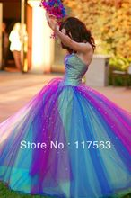 New Arrival Rainbow Style Sweetheart Beaded Multi Colors Colorful Quinceanera Dress Prom Dress Free Shippping 2014 CR019