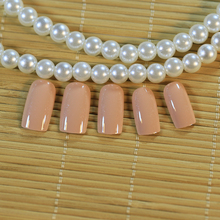 Kawaii 24 PCS Solid Nude Color Cheap False Nails Long Square Full Designed Nails with Glue Sticker for Ladies(China)