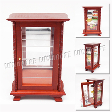 Odoria 1:12 Miniature Brown Cabinet with Mirror Showcase Closet Shelving Dollhouse Furniture Accessories(China)