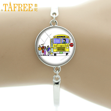 TAFREE school bus Bracelets Glass Cabochon kids' school bus round sticker Van bus Photo Jewelry for students gifts H216(China)