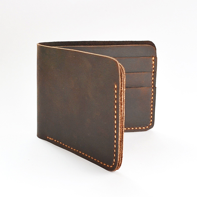 Handmade Vintage Crazy Horse Men Leather Wallet  retro wallet kleine portemonnee leren  wallet men genuine leather men wallets <br>
