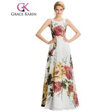Grace Karin 2017 New Arrival Long Evening Dress Floral Print Sleeveless Pattern Night  Formal Evening Gowns Dresses Elegant