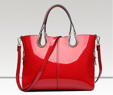 New Top-Handle Bags for Women 2017 Luxury Designer Handbags Ladies Red Patent Leather Handbag Female Large Tote Bag Pink B045