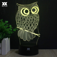 Owl 3D Lamp R2-D2 elk LED Remote Control Night Light USB Animal Decorative Table Lamp Interesting Gift HUI YUAN Brand(China)