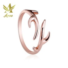 ANGG S925 Sterling Silver Rings Deer Refinement Smooth Antlers adjustable Wedding Ring Birthday Gift For Women & Girl(China)
