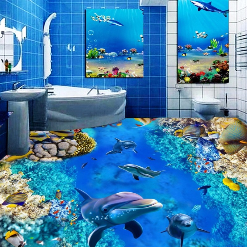 Free Shipping colorful underwater world bathroom 3D floor wear non-slip living room square bedroom flooring wallpaper mural<br>
