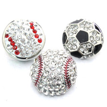 2016 crystal baseball 18mm metal  snap button M711 charm Love bracelet  for women one direction men's DIY jewelry