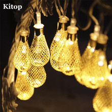 Kitop Warm White 20 led Fairy String light 8 mode 4M AC 220V/110V Iron ball Teardrop decorative rope for indoor outdoor Party