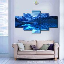 3-4-5 Piece Blue Ice Lake Wall art for Home Decoration Cheap Artwork Framed Art Paintings Canvas Prints for Living Room(China)