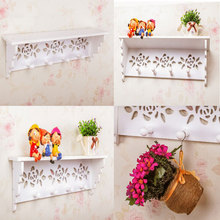 White Wood Rack Stands Simple modern wall shelf shelving rack Korean hollow partition wall art decoration creative child hangers