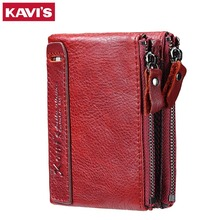 KAVIS 2017 Fashion Small Wallet Female Coin Purse Genuine Leather Women Wallet Mini Portomonee Lady Luxury Brand Rfid Red Walet(China)