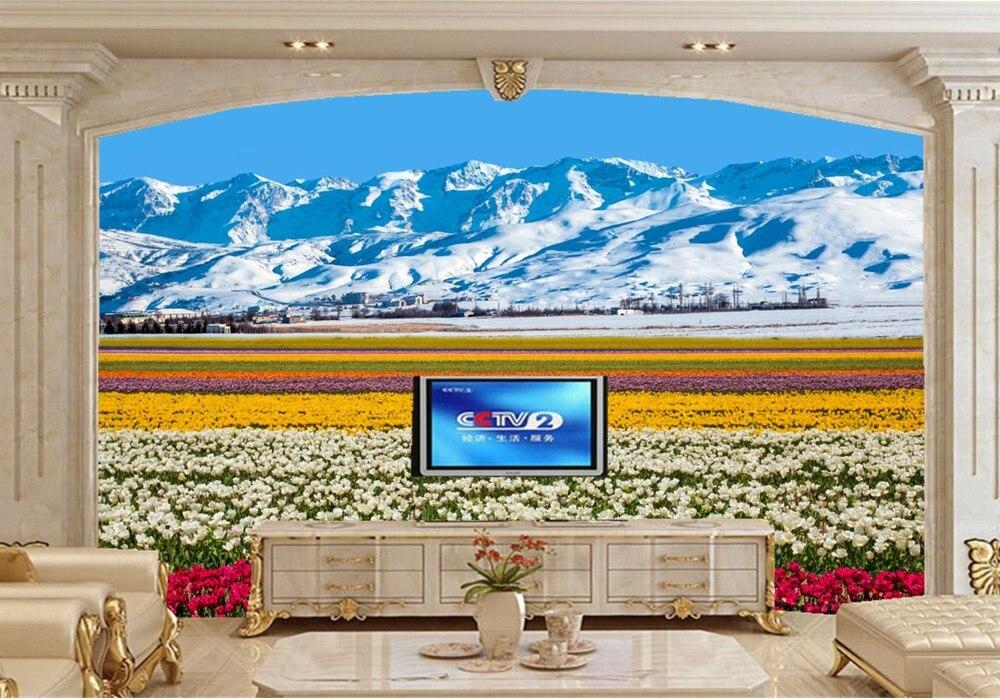 papel de parede Mountains Field Tulips Nature photo wallpaper,living room tv sofa wall kitchen bedroom restaurant bar 3d mural <br>