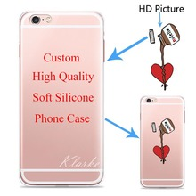 Custom Design DIY Transparente Silicone Case Cover For iPhone 6 6s 5 5s SE 7 6plus Customized Printing Cell Phone Case
