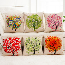 &  hot tree and flowers Cotton Line throw / cushions / Decorative pillows no filling sofa bed wedding home decoration pillowcase