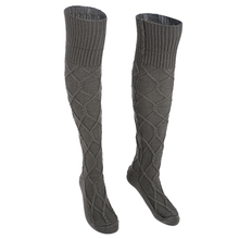 Women Knitted Stockings Light Gray Wine Red Beige Dark Gray Female Curling Thigh High Over The Knee Long Stockings Drop Shipping(China)