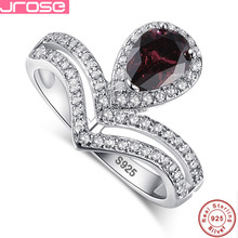Jrose Hot Fashion Real Pure Water Drop100% 925 Sterling Silver Women's Wedding Rings set 1.1ct Spessartine Garnet Gift With Box
