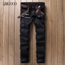 QMGOOD Men's Jeans Europe and The United States Spring and Summer New Casual Stitch Slim Large Size Black Men's Jeans Trousers38(China)
