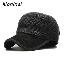Kioninai 2017 Winter Hat Black PU Plaid Snapback Caps With Earflap Sport Baseball Cap Dad Hat Gorras Planas Casquette For Man(China)