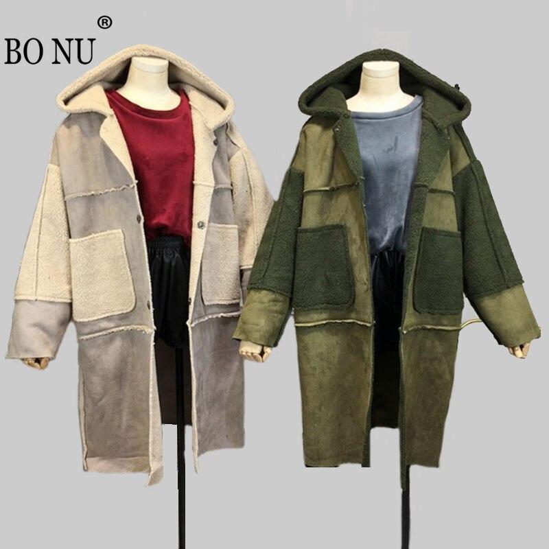 BO NU 2018 New Lamb Hooded Fur Parka Winter Suede Covered Button Long Jacket Women Slim Coat Loosen Fur Jacket Women Fur CoatÎäåæäà è àêñåññóàðû<br><br>