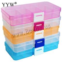 10 Slots Adjustable Transparent Jewelry Storage Box Ring Earring Drug Pill Beads Portable Plastic Organizer Case Travel Bins