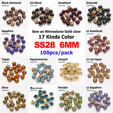 Hot sale !17 Color Sew on Rhinestone Gold Claw Stones Round Glass 6mm for dresses decoration 100pcs/pack free shiping
