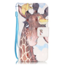 The Giraffe Blue 3D PU+TPU Stand Case for iphone 7 5 5S SE 6 Plus 6s Plus iPod Touch 5 6 Wallet Book Style Magnetic Flip Case
